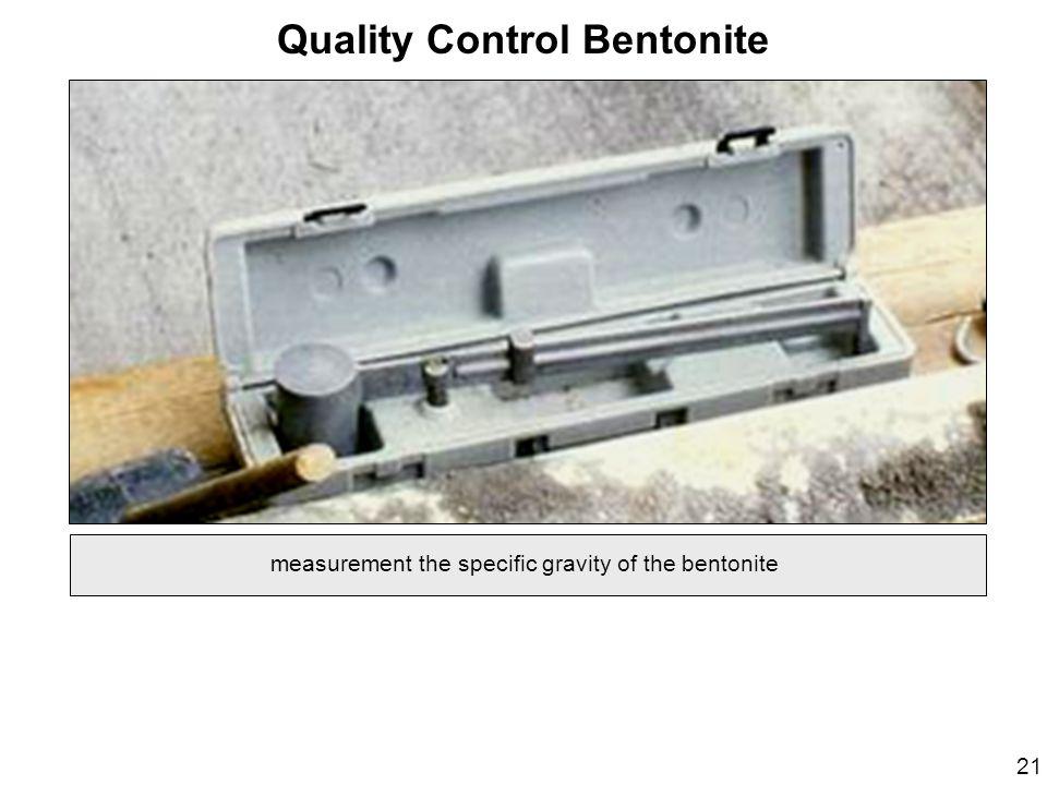 Quality Control Bentonite measurement the specific gravity of the bentonite 21