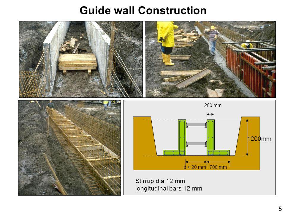 Stirrup dia 12 mm longitudinal bars 12 mm 1200mm 700 mm d + 20 mm 200 mm Guide wall Construction 5