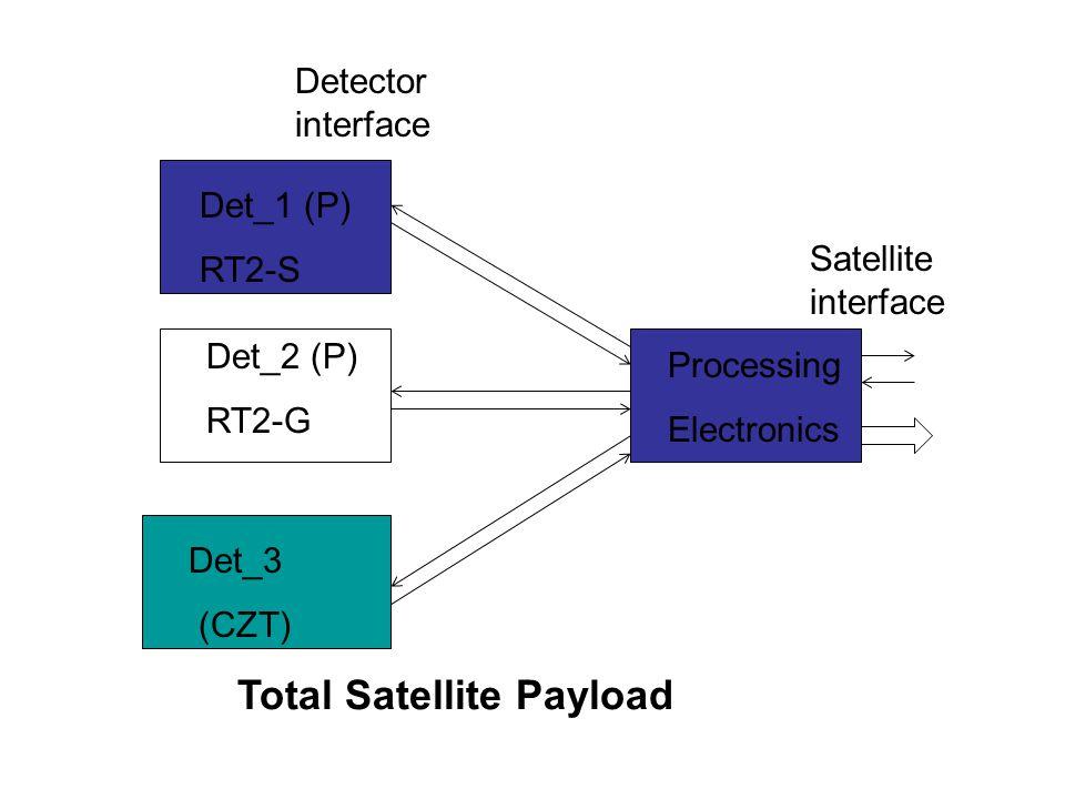 Det_1 (P) RT2-S Det_2 (P) RT2-G Det_3 (CZT) Processing Electronics Detector interface Satellite interface Total Satellite Payload