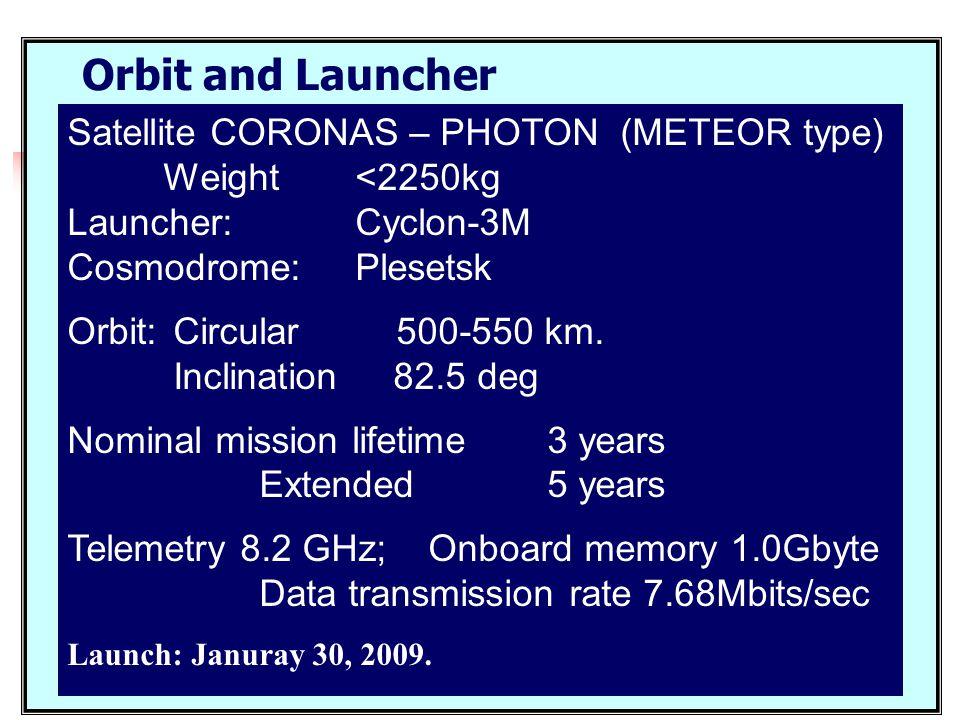 Satellite CORONAS – PHOTON (METEOR type) Weight <2250kg Launcher: Cyclon-3M Cosmodrome: Plesetsk Orbit: Circular 500-550 km. Inclination 82.5 deg Nomi