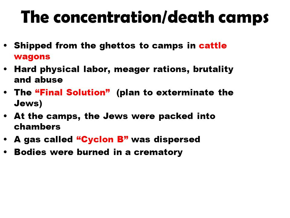 """The concentration/death camps Shipped from the ghettos to camps in cattle wagons Hard physical labor, meager rations, brutality and abuse The """"Final S"""