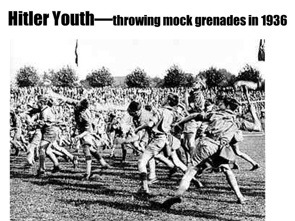 Hitler Youth— throwing mock grenades in 1936