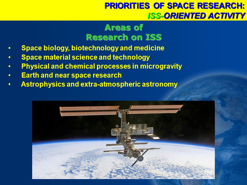 Areas of Research on ISS Space biology, biotechnology and medicine Space material science and technology Physical and chemical processes in microgravity Earth and near space research Astrophysics and extra-atmospheric astronomy PRIORITIES OF SPACE RESEARCH: ISS-ORIENTED ACTIVITY