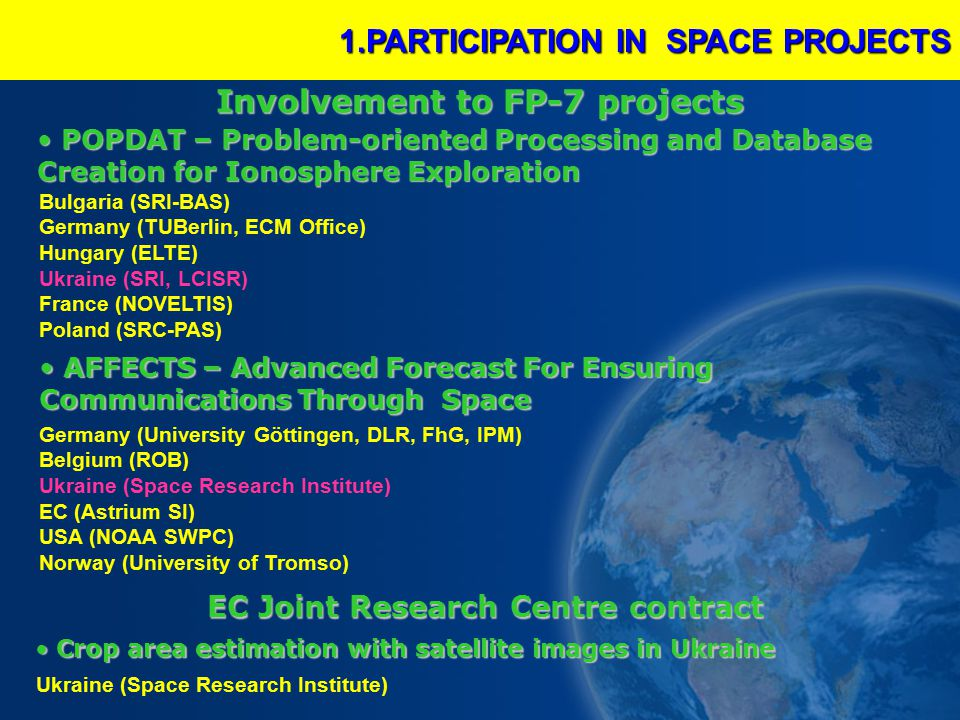 1.PARTICIPATION IN SPACE PROJECTS POPDAT – Problem-oriented Processing and Database Creation for Ionosphere Exploration POPDAT – Problem-oriented Processing and Database Creation for Ionosphere Exploration AFFECTS – Advanced Forecast For Ensuring Communications Through Space AFFECTS – Advanced Forecast For Ensuring Communications Through Space Bulgaria (SRI-BAS) Germany (TUBerlin, ECM Office) Hungary (ELTE) Ukraine (SRI, LCISR) France (NOVELTIS) Poland (SRC-PAS) Germany (University Göttingen, DLR, FhG, IPM) Belgium (ROB) Ukraine (Space Research Institute) EC (Astrium SI) USA (NOAA SWPC) Norway (University of Tromso) Involvement to FP-7 projects EC Joint Research Centre contract EC Joint Research Centre contract Crop area estimation with satellite images in Ukraine Crop area estimation with satellite images in Ukraine Ukraine (Space Research Institute)