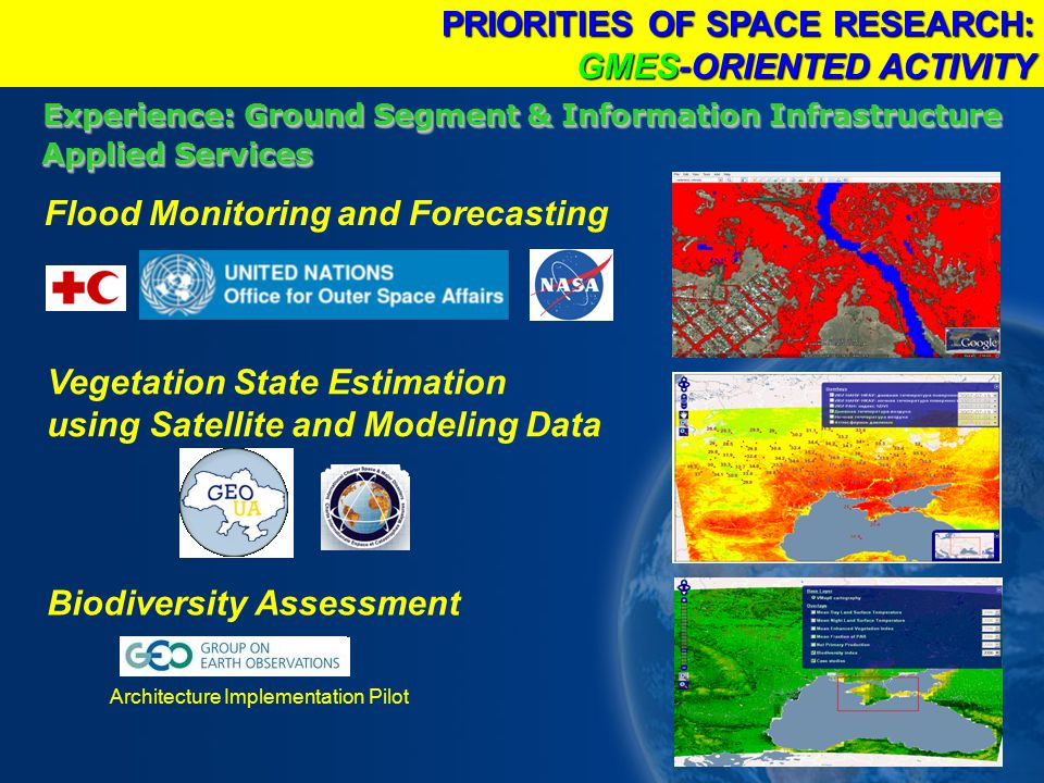 Experience: Ground Segment & Information Infrastructure Applied Services Architecture Implementation Pilot PRIORITIES OF SPACE RESEARCH: GMES-ORIENTED ACTIVITY Biodiversity Assessment Vegetation State Estimation using Satellite and Modeling Data Flood Monitoring and Forecasting