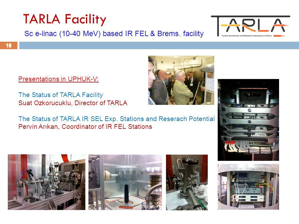 16 TARLA Facility Sc e-linac (10-40 MeV) based IR FEL & Brems.