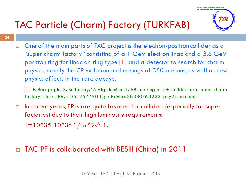TAC Particle (Charm) Factory (TURKFAB) 24  One of the main parts of TAC project is the electron-positron collider as a super charm factory consisting of a 1 GeV electron linac and a 3.6 GeV positron ring for linac on ring type [1] and a detector to search for charm physics, mainly the CP violation and mixings of D^0-mesons, as well as new physics effects in the rare decays.