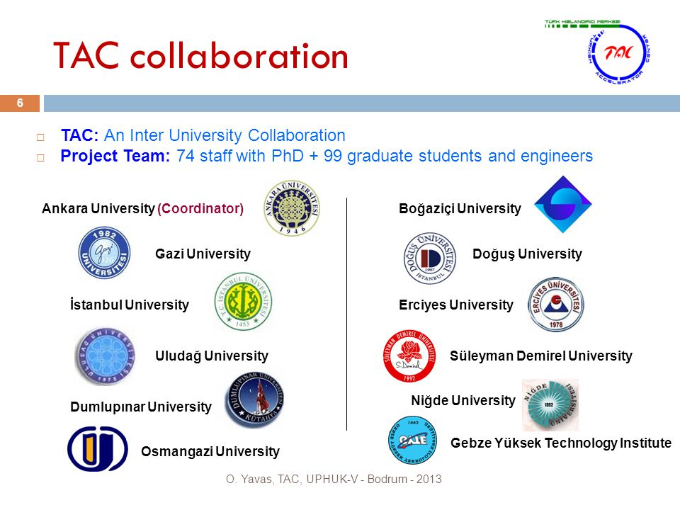 TAC collaboration 6  TAC: An Inter University Collaboration  Project Team: 74 staff with PhD + 99 graduate students and engineers Ankara University (Coordinator) Gazi University İstanbul University Uludağ University Dumlupınar University Erciyes University Boğaziçi University Doğuş University Süleyman Demirel University Niğde University Osmangazi University O.