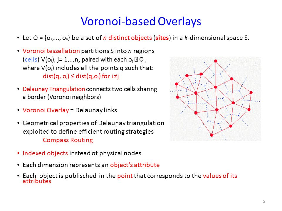 Voronoi-based Overlays Let O = {o 1,..., o n } be a set of n distinct objects (sites) in a k-dimensional space S.