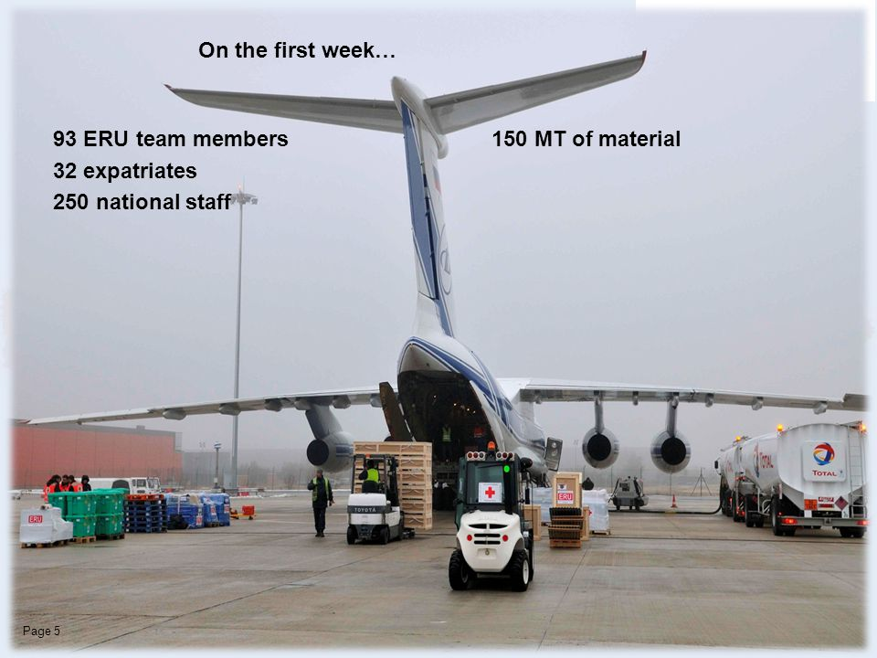 CRF / DROIPage 5 93 ERU team members 150 MT of material 32 expatriates 250 national staff On the first week…