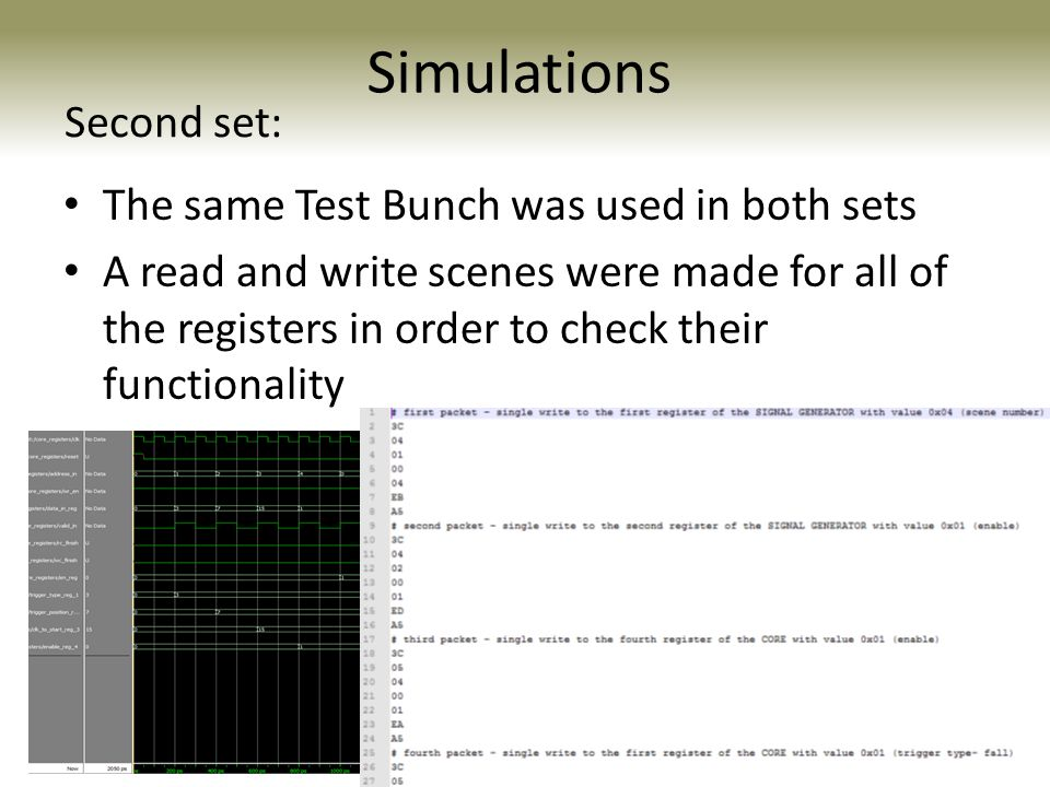 Simulations The same Test Bunch was used in both sets A read and write scenes were made for all of the registers in order to check their functionality Second set: