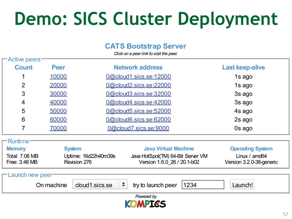 57 Demo: SICS Cluster Deployment