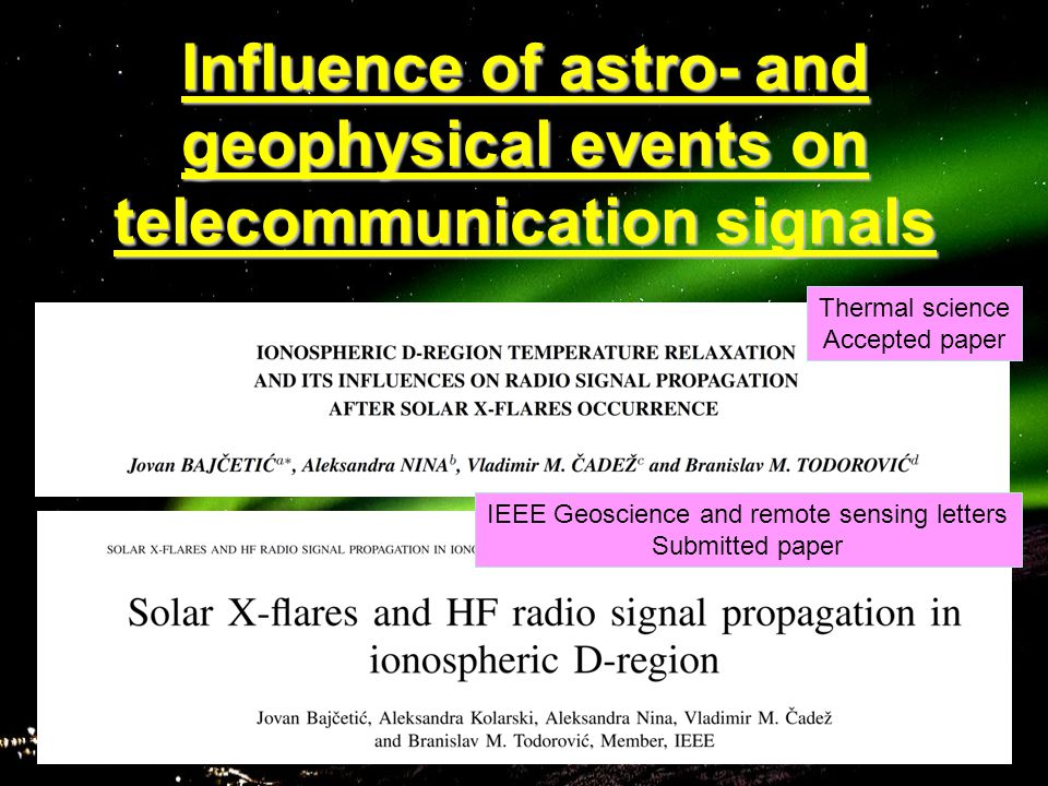 Influence of astro- and geophysical events on telecommunication signals Thermal science Accepted paper IEEE Geoscience and remote sensing letters Submitted paper