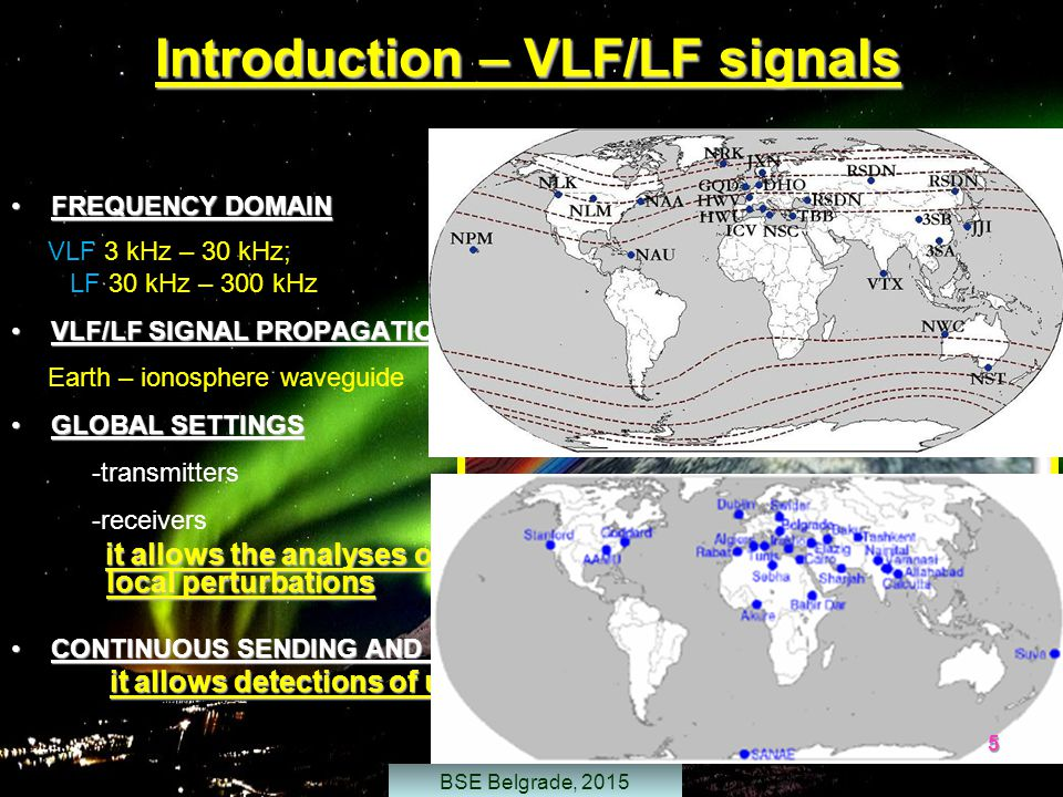 Introduction – VLF/LF signals FREQUENCY DOMAINFREQUENCY DOMAIN VLF 3 kHz – 30 kHz; LF 30 kHz – 300 kHz VLF/LF SIGNAL PROPAGATIONVLF/LF SIGNAL PROPAGATION Earth – ionosphere waveguide GLOBAL SETTINGSGLOBAL SETTINGS -transmitters -receivers it allows the analyses of large part of D-region and detection of local perturbations CONTINUOUS SENDING AND RECEIVING OF SIGNALSCONTINUOUS SENDING AND RECEIVING OF SIGNALS - it allows detections of unperiodical perturbations it allows detections of unperiodical perturbations 5 BSE Belgrade, 2015