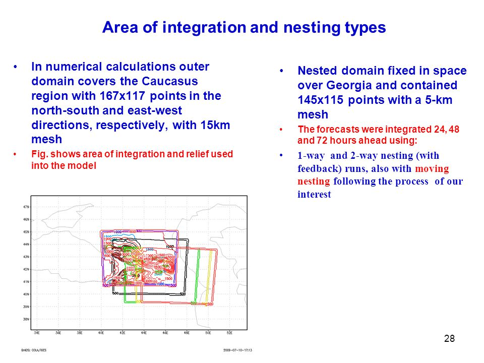 Area of integration and nesting types In numerical calculations outer domain covers the Caucasus region with 167x117 points in the north-south and east-west directions, respectively, with 15km mesh Fig.