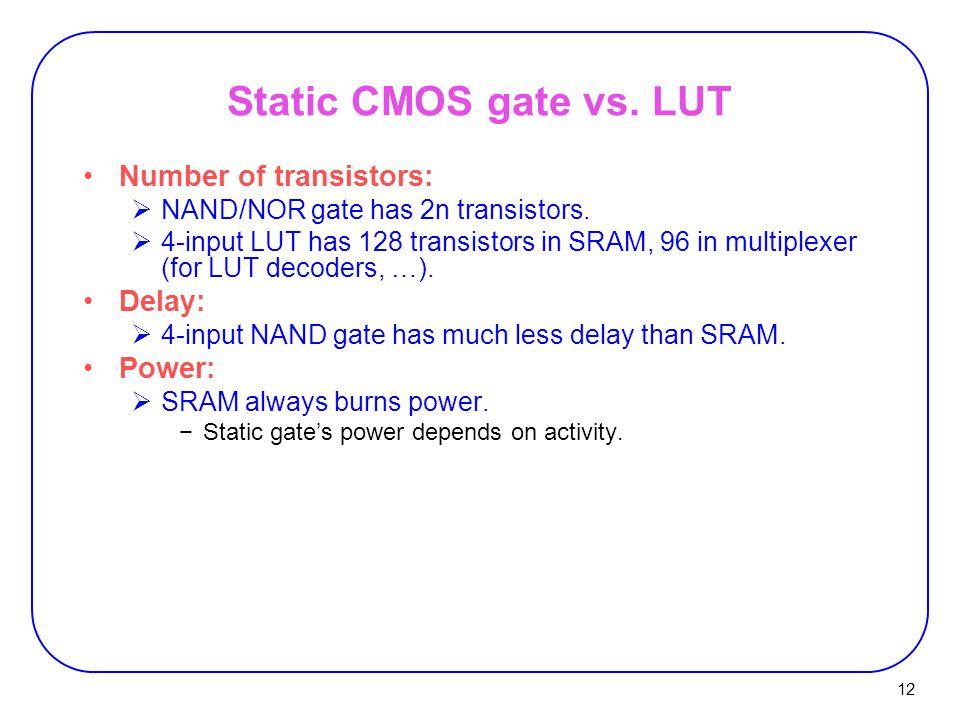 12 Static CMOS gate vs. LUT Number of transistors:  NAND/NOR gate has 2n transistors.