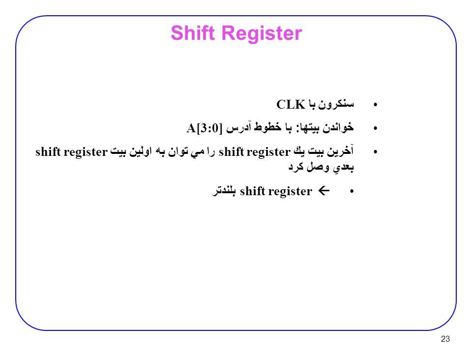 23 Shift Register سنكرون با CLK خواندن بيتها : با خطوط آدرس A[3:0] آخرين بيت يك shift register را مي توان به اولين بيت shift register بعدي وصل كرد  shift register بلندتر