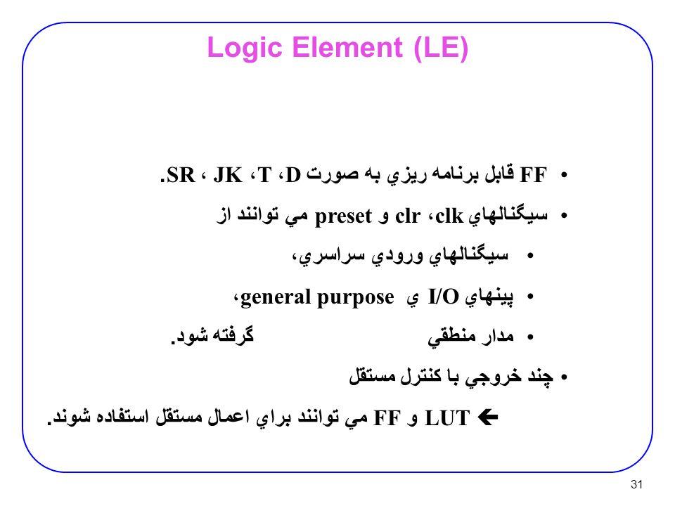 31 Logic Element (LE) FF قابل برنامه ريزي به صورت D ، T ، JK ، SR.