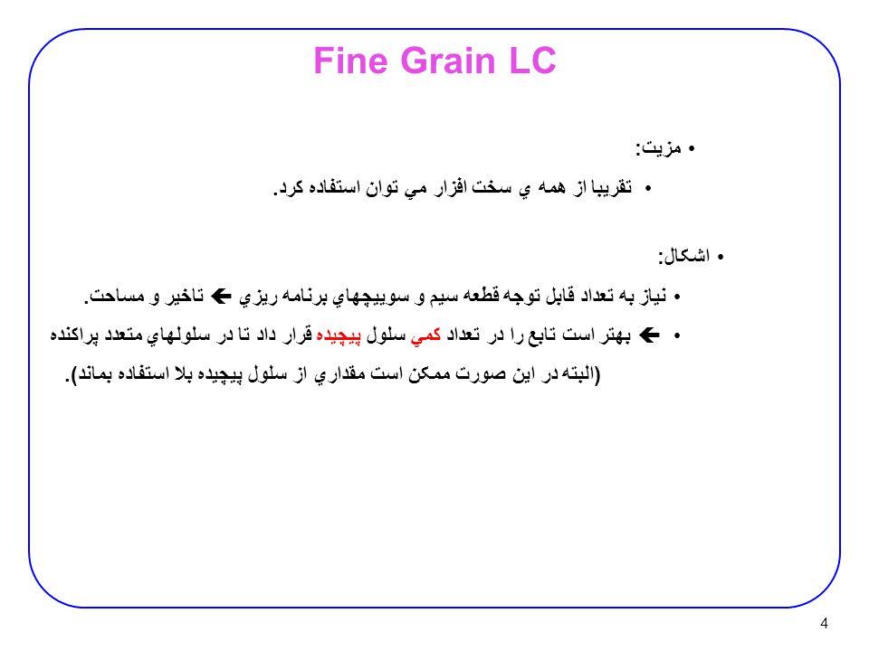 4 Fine Grain LC مزيت : تقريبا از همه ي سخت افزار مي توان استفاده کرد.