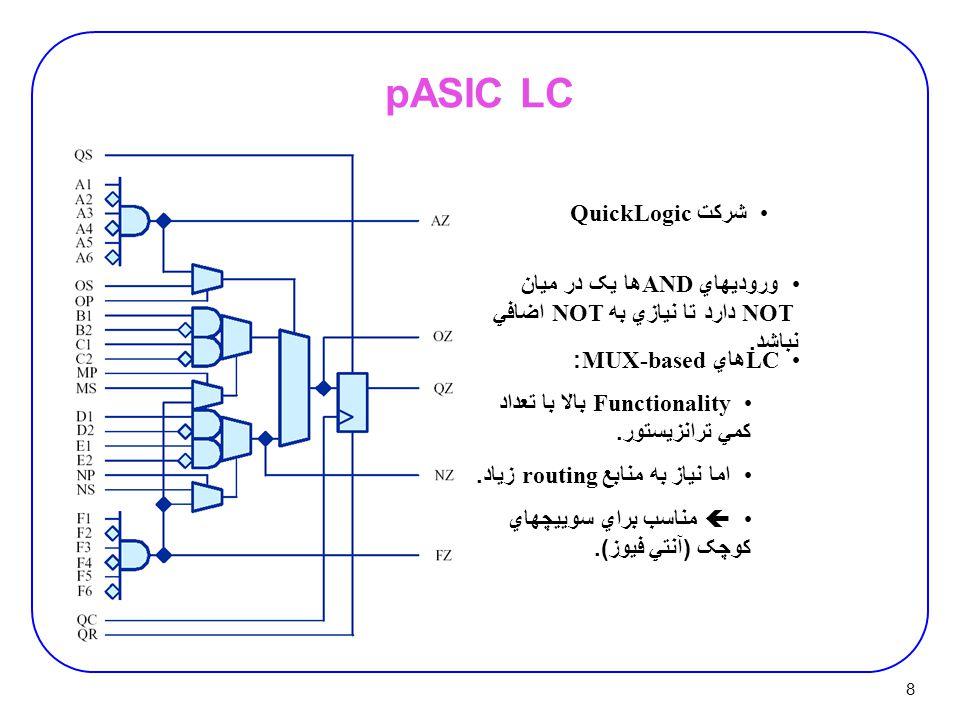 8 pASIC LC شرکت QuickLogic وروديهاي AND ها يک در ميان NOT دارد تا نيازي به NOT اضافي نباشد. LC هاي MUX-based: Functionality بالا با تعداد کمي ترانزيست