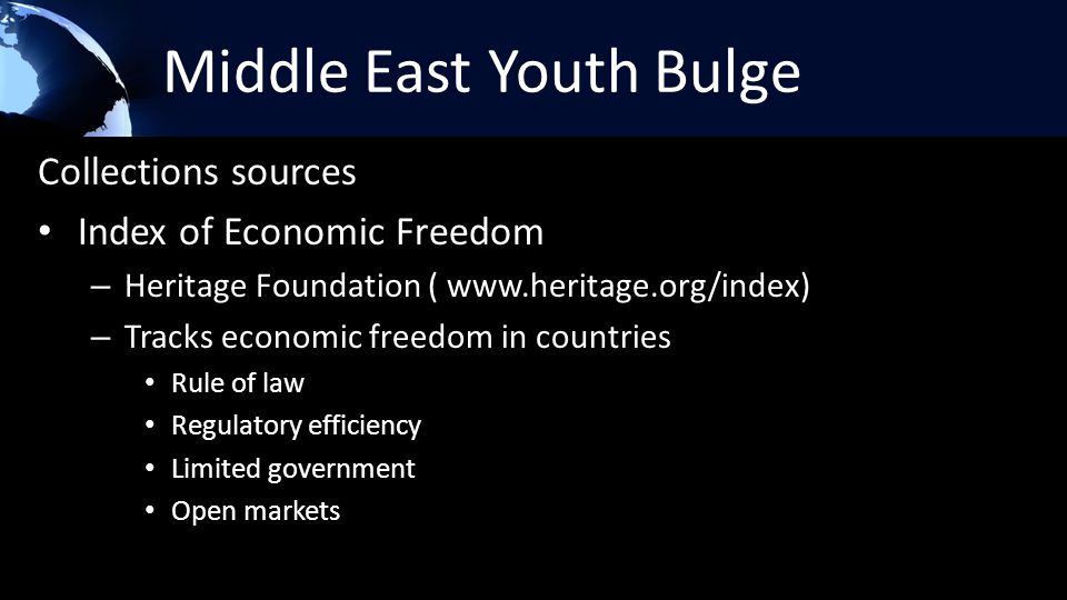 Middle East Youth Bulge Collections sources Index of Economic Freedom – Heritage Foundation ( www.heritage.org/index) – Tracks economic freedom in cou