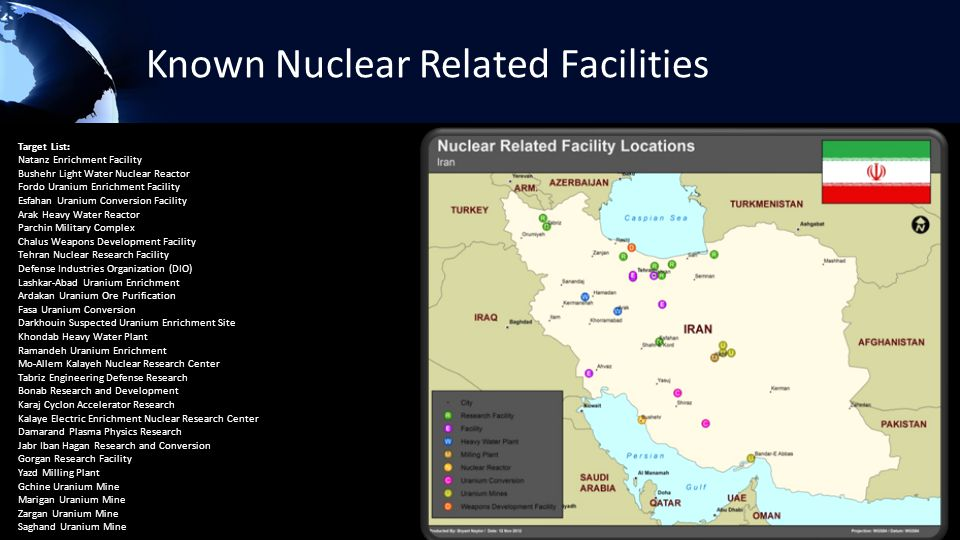 Known Nuclear Related Facilities Target List: Natanz Enrichment Facility Bushehr Light Water Nuclear Reactor Fordo Uranium Enrichment Facility Esfahan