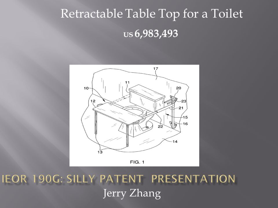 Jerry Zhang US 6,983,493 Retractable Table Top for a Toilet