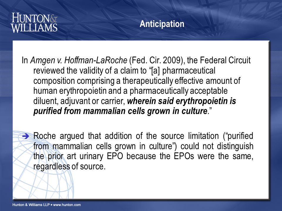 Anticipation In Amgen v. Hoffman-LaRoche (Fed. Cir.