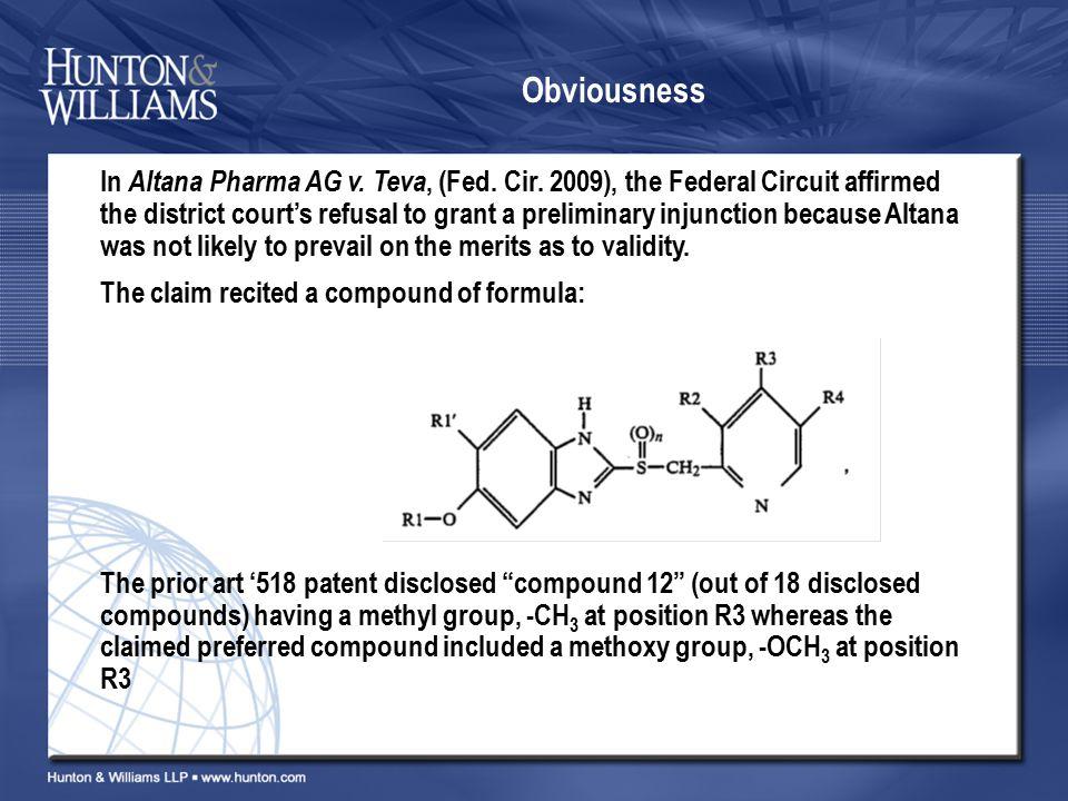 Obviousness In Altana Pharma AG v. Teva, (Fed. Cir.