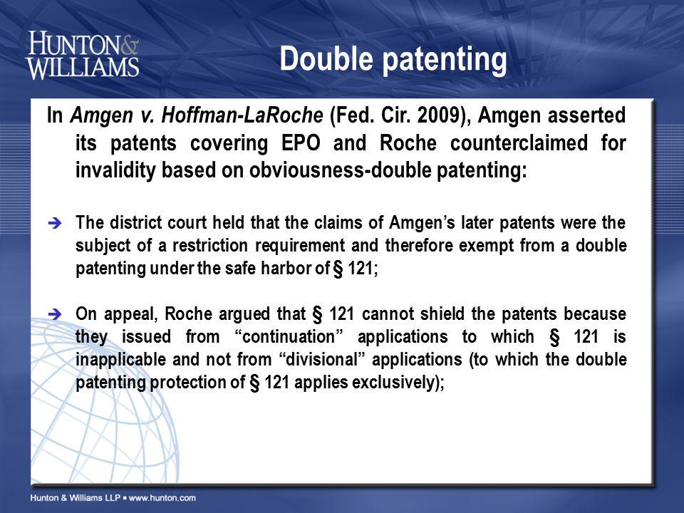 Double patenting In Amgen v. Hoffman-LaRoche (Fed.