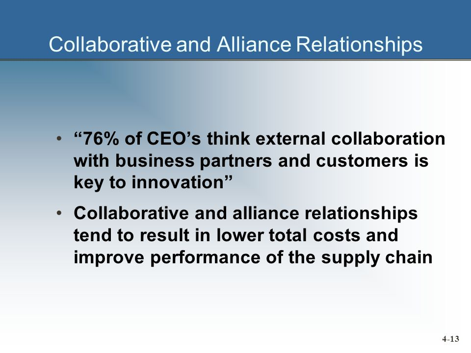 Collaborative and Alliance Relationships 76% of CEO's think external collaboration with business partners and customers is key to innovation Collaborative and alliance relationships tend to result in lower total costs and improve performance of the supply chain 4-13