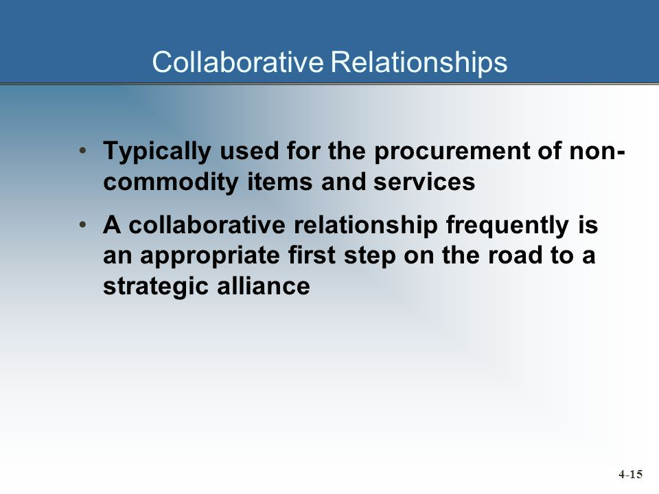 Collaborative Relationships Typically used for the procurement of non- commodity items and services A collaborative relationship frequently is an appropriate first step on the road to a strategic alliance 4-15