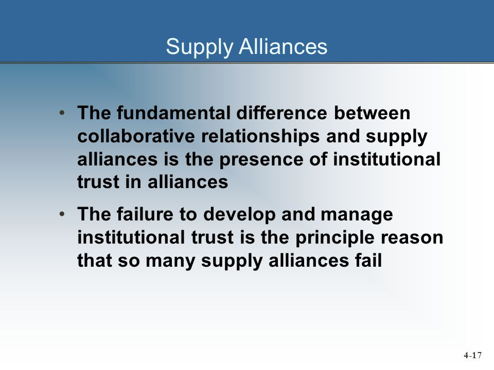 Supply Alliances The fundamental difference between collaborative relationships and supply alliances is the presence of institutional trust in alliances The failure to develop and manage institutional trust is the principle reason that so many supply alliances fail 4-17