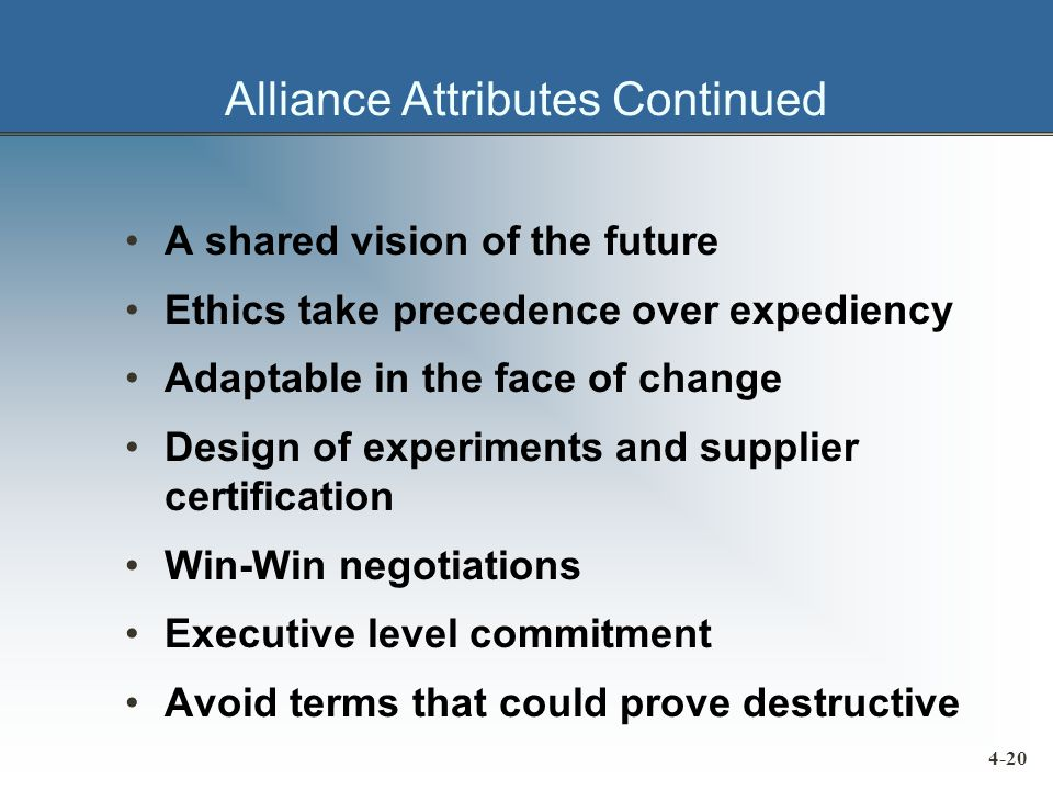 Alliance Attributes Continued A shared vision of the future Ethics take precedence over expediency Adaptable in the face of change Design of experiments and supplier certification Win-Win negotiations Executive level commitment Avoid terms that could prove destructive 4-20