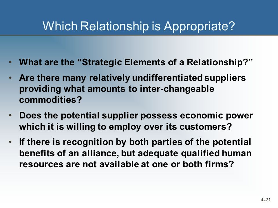Which Relationship is Appropriate.