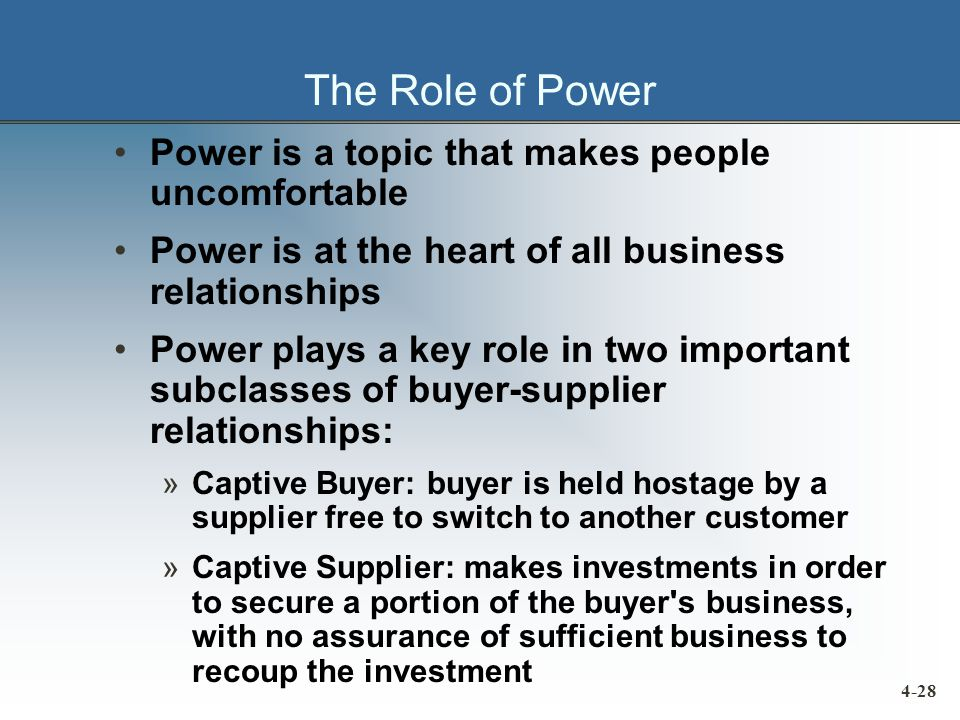 The Role of Power Power is a topic that makes people uncomfortable Power is at the heart of all business relationships Power plays a key role in two important subclasses of buyer-supplier relationships: »Captive Buyer: buyer is held hostage by a supplier free to switch to another customer »Captive Supplier: makes investments in order to secure a portion of the buyer s business, with no assurance of sufficient business to recoup the investment 4-28