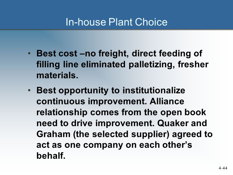 In-house Plant Choice Best cost –no freight, direct feeding of filling line eliminated palletizing, fresher materials.
