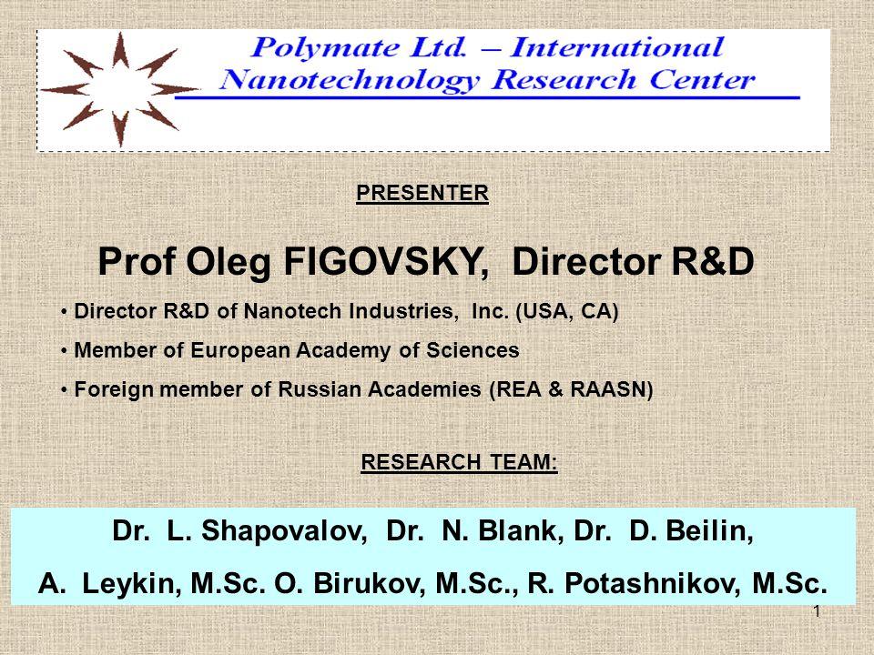 1 PRESENTER Prof Oleg FIGOVSKY, Director R&D Director R&D of Nanotech Industries, Inc. (USA, CA) Member of European Academy of Sciences Foreign member