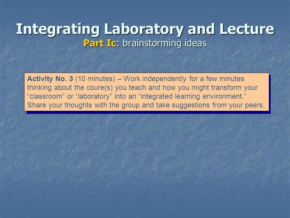 Integrating Laboratory and Lecture Part Ic: brainstorming ideas Activity No.