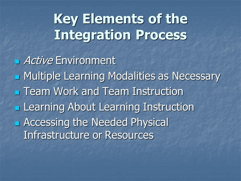 Key Elements of the Integration Process Active Environment Active Environment Multiple Learning Modalities as Necessary Multiple Learning Modalities as Necessary Team Work and Team Instruction Team Work and Team Instruction Learning About Learning Instruction Learning About Learning Instruction Accessing the Needed Physical Infrastructure or Resources Accessing the Needed Physical Infrastructure or Resources