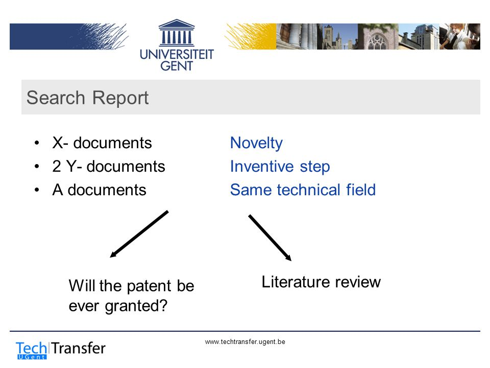 www.techtransfer.ugent.be Search Report X- documentsNovelty 2 Y- documentsInventive step A documentsSame technical field Will the patent be ever grant
