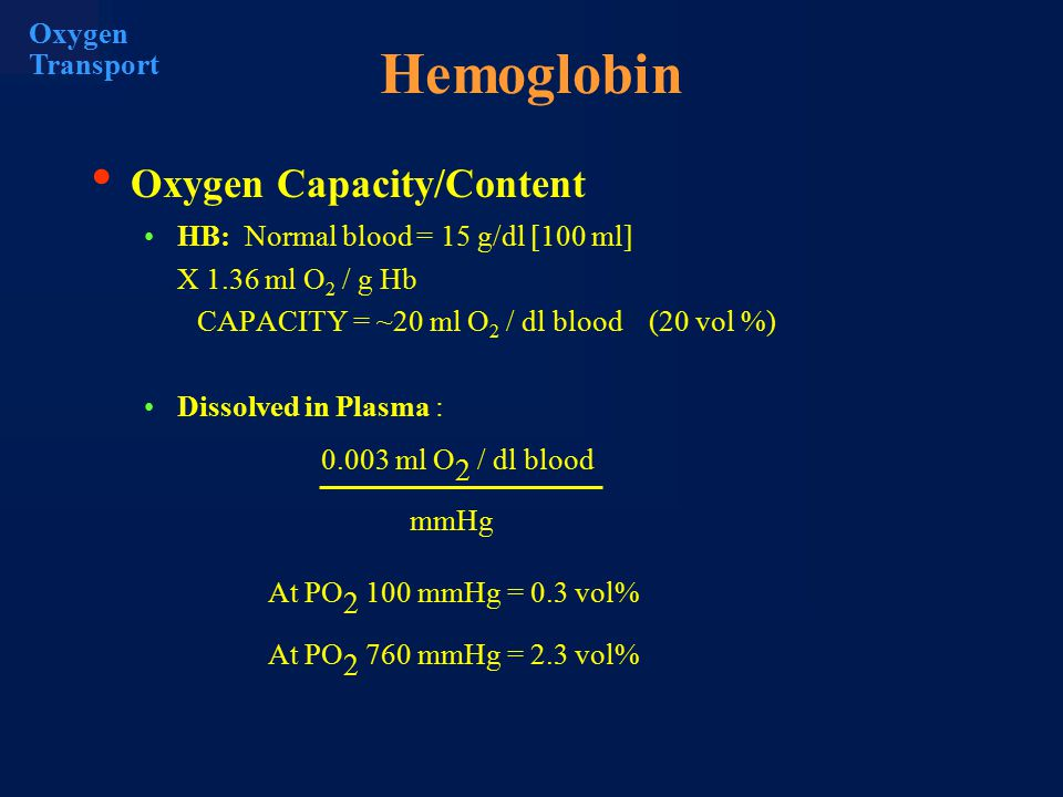 PO 2 =100 mmHg Due to the presence of hemoglobin, the volume rate transfer of oxygen from the alveoli to the blood is increased.
