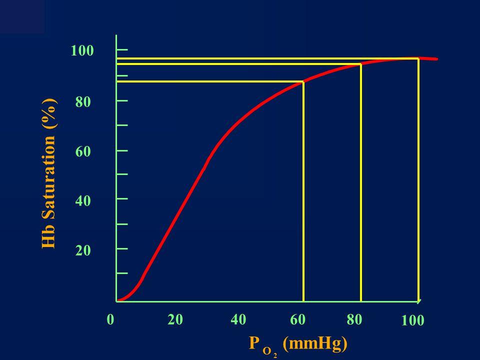 O 2 Content (ml/dl blood) 20 10 0 PO 2 (mmHg) 100 200300400 ) PO 2 Same decrease in O 2 content ) PO 2 Oxygen Transport