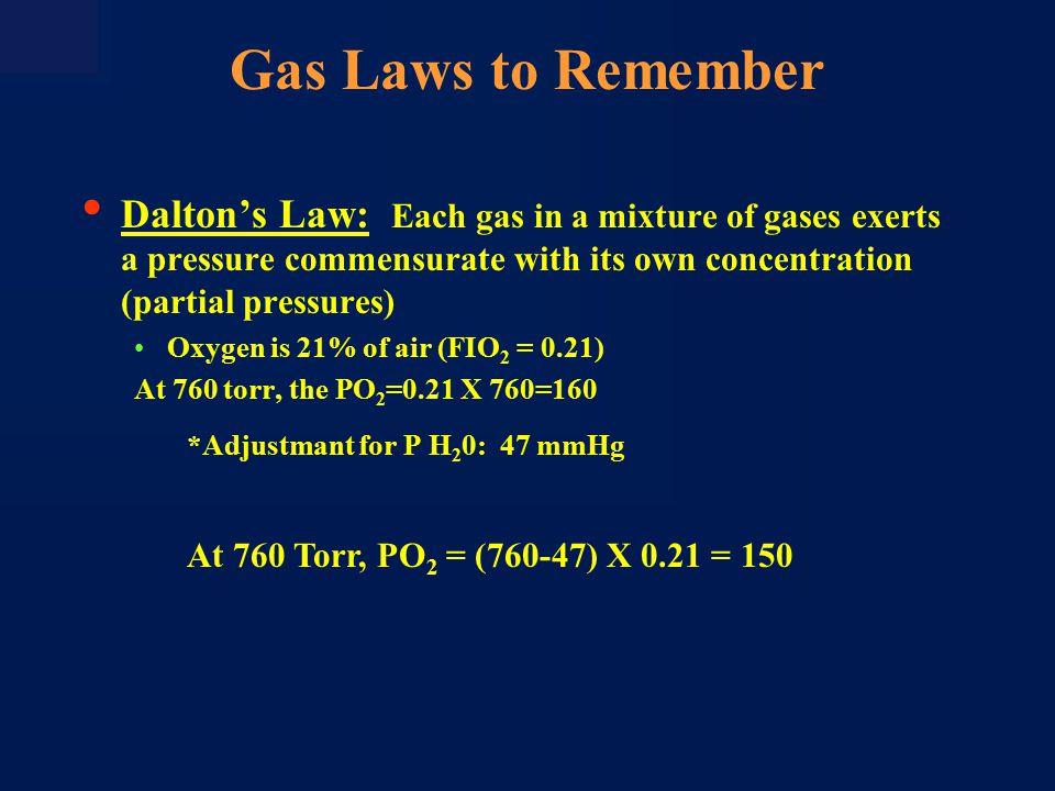 50 100 010203040 Temperature ( o C) 0 20 40 60 80 Vapor Pressure of Water (mmHg) 37 o C 47 mmHg