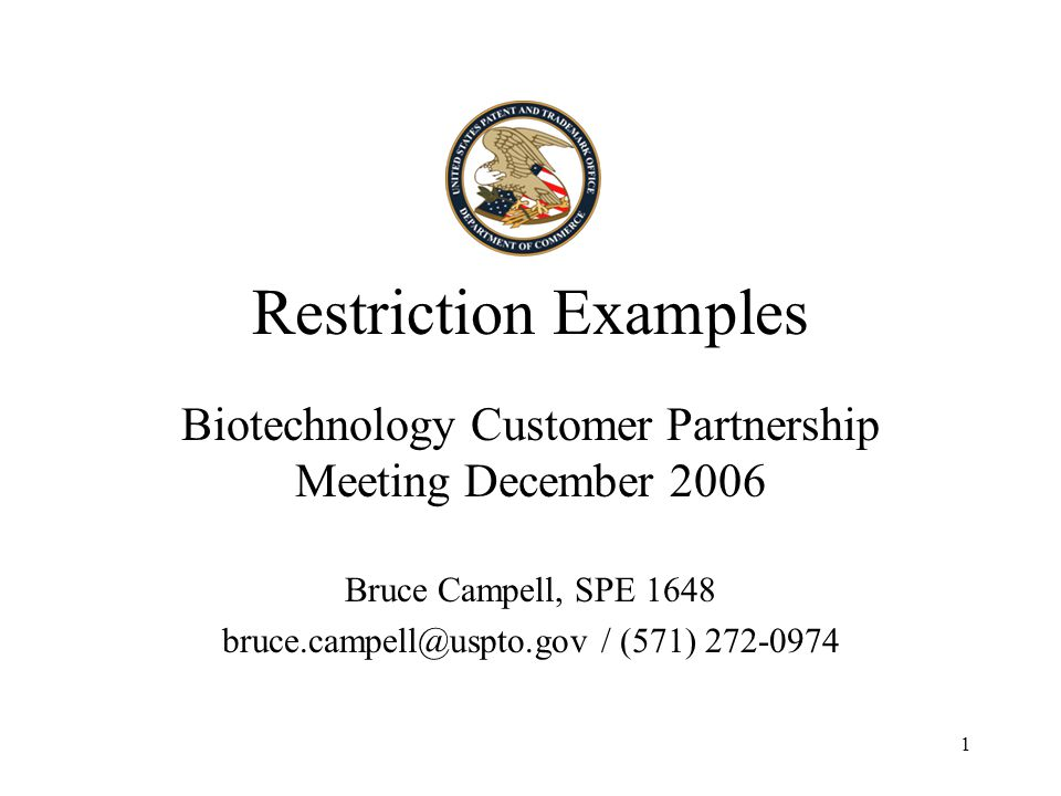 2 Subject Matter Of Examples Two Chemical examples Three Biotechnology examples Supplied by non USPTO Biotechnology Customer Partnership attendees