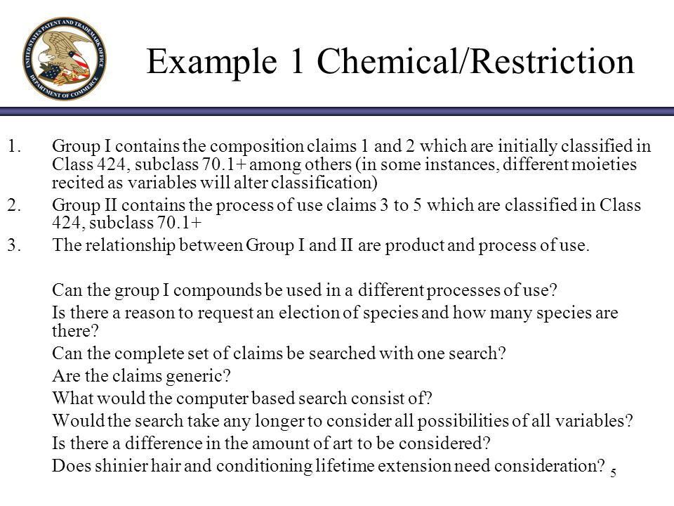 26 Restriction Examples Questions Bruce Campell, SPE 1648 bruce.campell@uspto.gov / (571) 272-0974