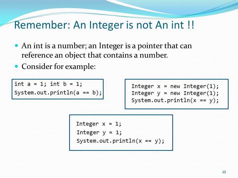 Remember: An Integer is not An int !.