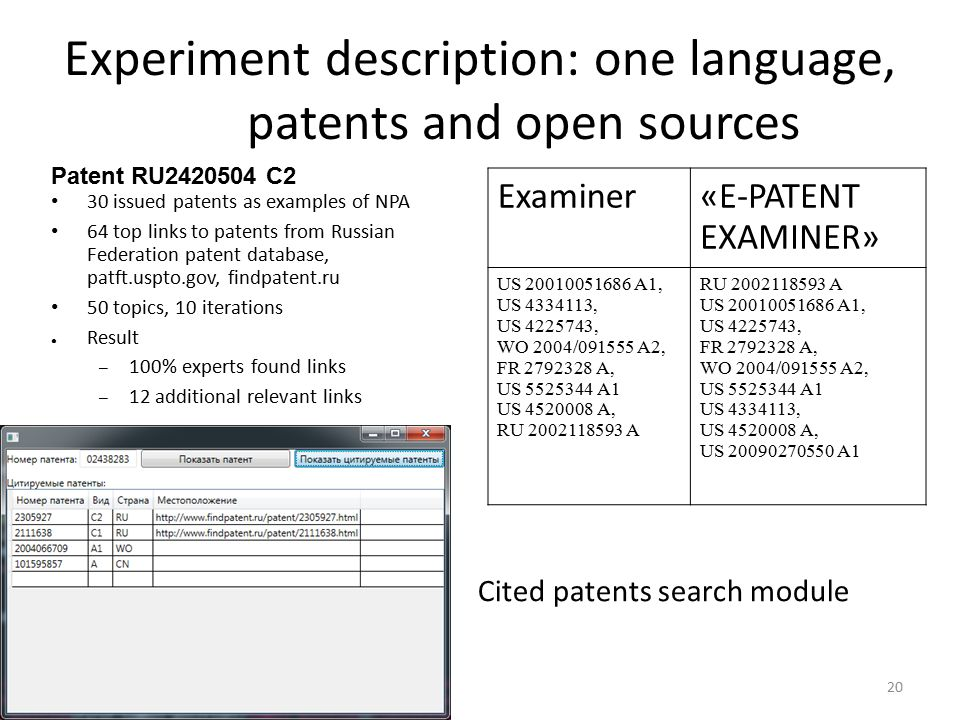 20 Experiment description: one language, patents and open sources 30 issued patents as examples of NPA 64 top links to patents from Russian Federation patent database, patft.uspto.gov, findpatent.ru 50 topics, 10 iterations ● Result – 100% experts found links – 12 additional relevant links Patent RU2420504 C2 Examiner«E-PATENT EXAMINER» US 20010051686 A1, US 4334113, US 4225743, WO 2004/091555 A2, FR 2792328 A, US 5525344 A1 US 4520008 A, RU 2002118593 A US 20010051686 A1, US 4225743, FR 2792328 A, WO 2004/091555 A2, US 5525344 A1 US 4334113, US 4520008 A, US 20090270550 A1 Cited patents search module