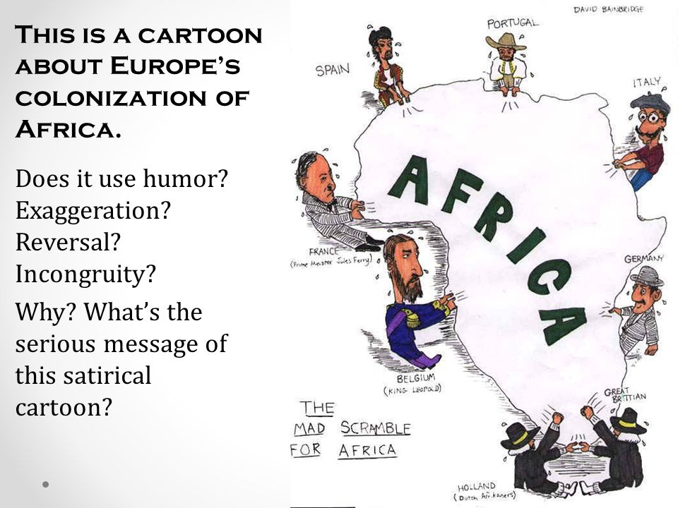 This is a cartoon about Europe's colonization of Africa.