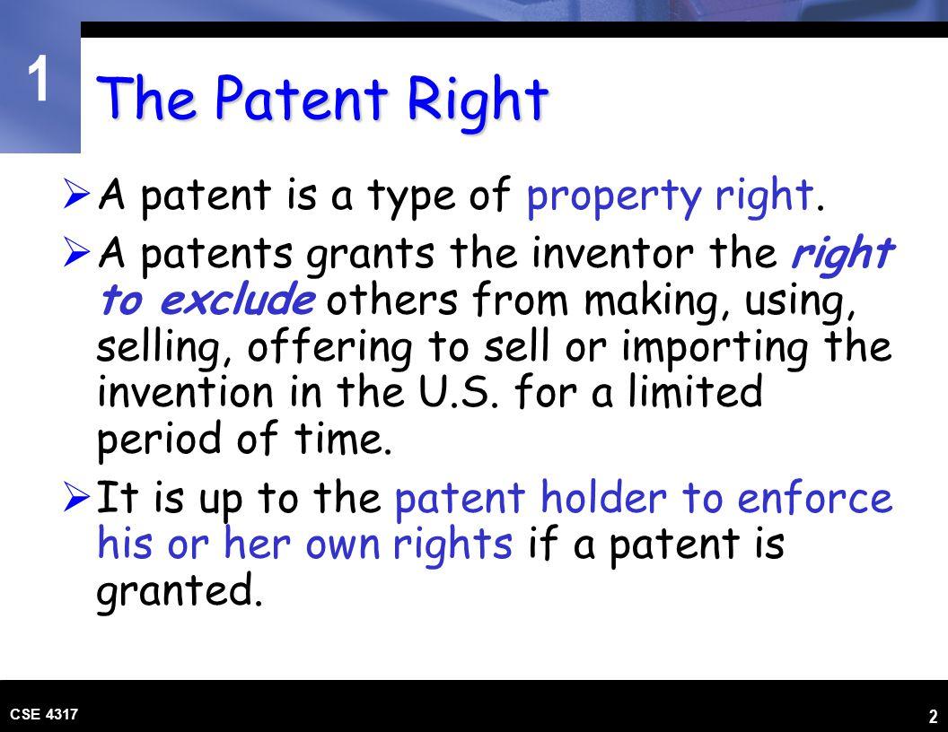 1 CSE 4317 3 Sources of U.S.Patent Law U.S. Constitution, Art.